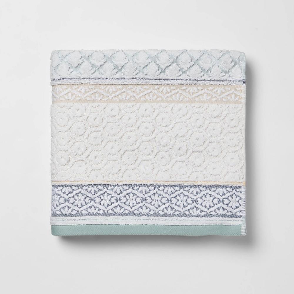 Pattern Filled Striped Bath Towel Blue Threshold 8482