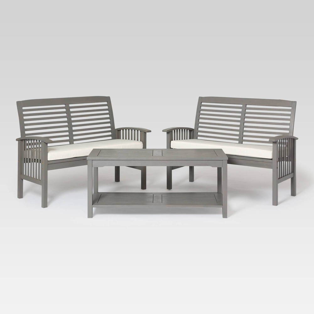3pc Classic Outdoor Patio Chat Set Gray Wash Saracina Home