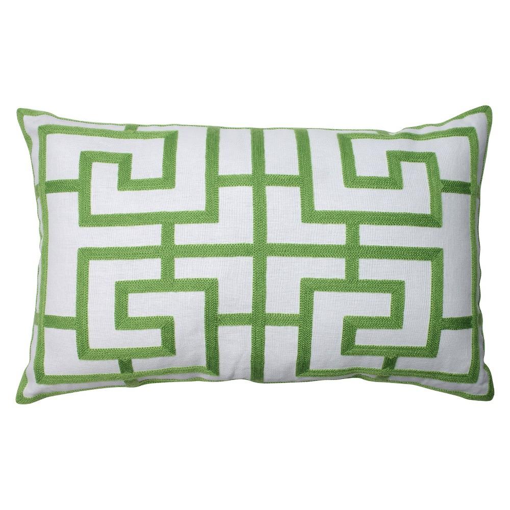 Pillow Perfect Embroidered Geometric Rectangular Throw Pillow - 18.5