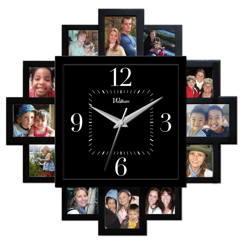 Image of 15.25 Waltham Wall Clock with 12 Photo Openings - Waltham