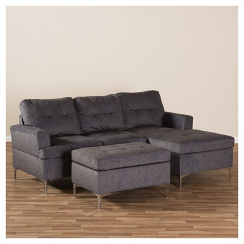 Riley Modern And Contemporary Fabric Upholstered 3 Piece Sectional