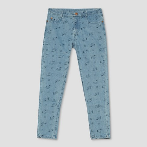 Girls' Spirit Riding Free Horseshoe All Over Print Jeans - Denim Blue - image 1 of 2