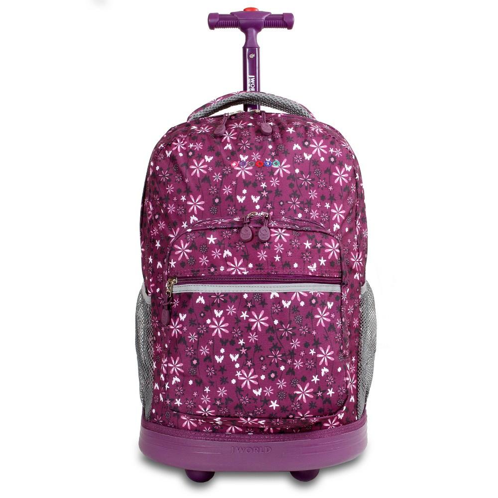 J World 18 Sunrise Rolling Backpack Garden Purple