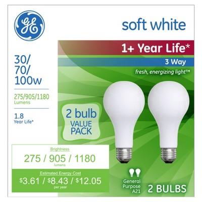 GE 2pk 30/70/100W 3-Way Long Life Incandescent Light Bulb - Soft White