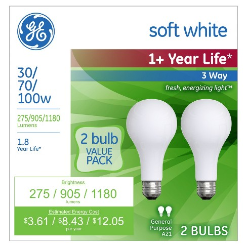 Ge 30 70 100 Watt 3 Way Long Life Incandescent Light Bulb 2 Pack Soft White Target