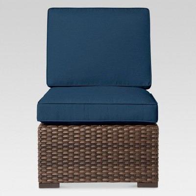 Halsted Wicker Patio Armless Sectional Seat - Navy - Threshold™