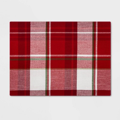 Holiday Plaid Rectangle Placemat Red - Threshold™