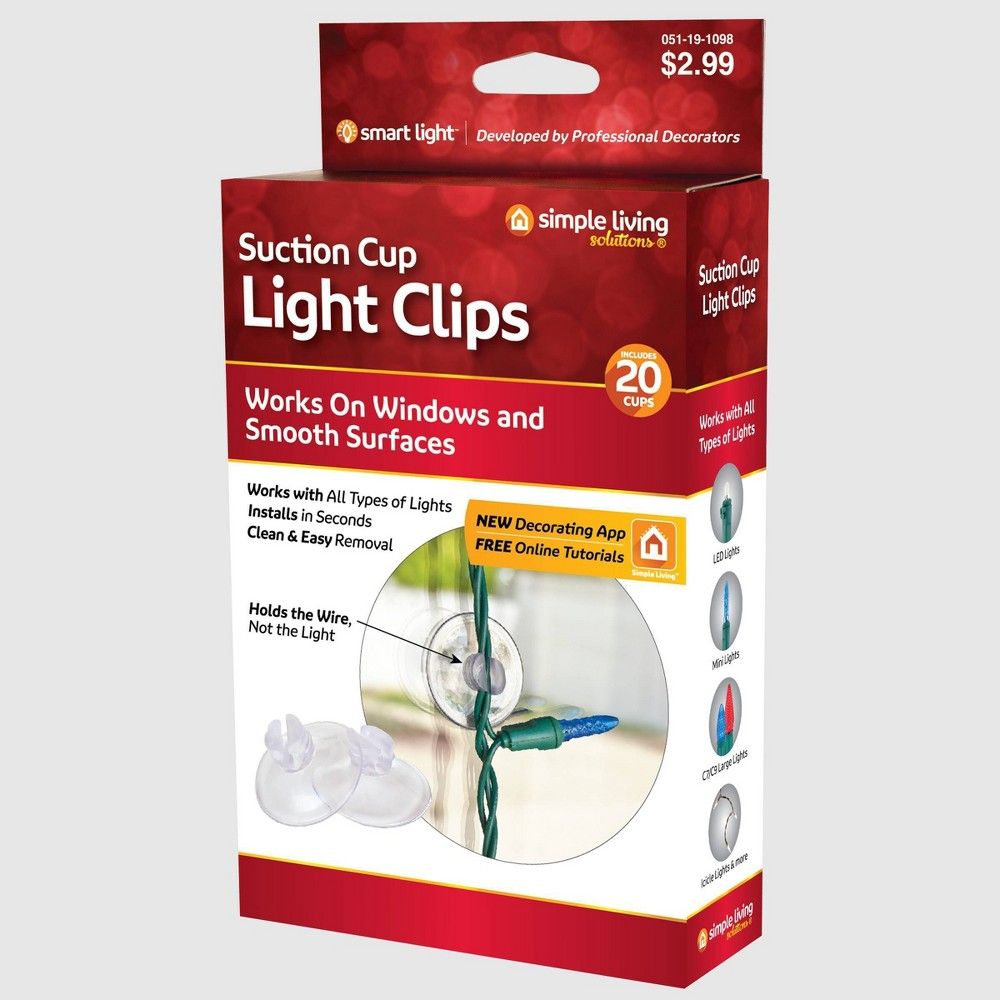 Image of 20ct Suction Cup Light Clips - Simple Living Innovations, Clear