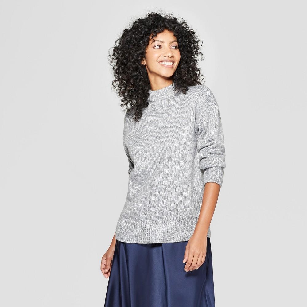 Women's Mock Neck Shine Pullover Sweater - A New Day Dark Gray S
