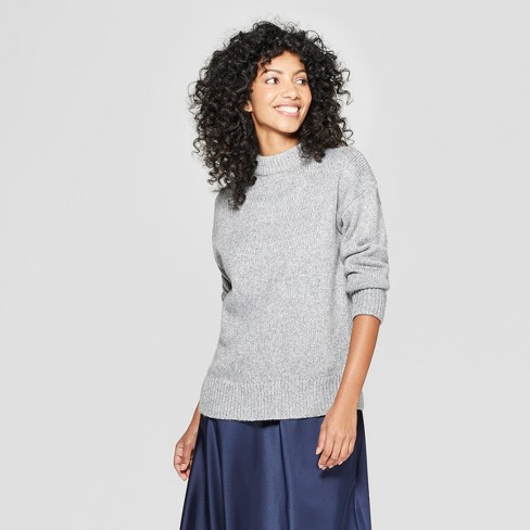 Women's Mock Neck Shine Pullover Sweater - A New Day™ - image 1 of 3