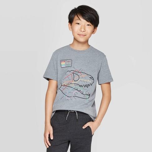 Boys' Short Sleeve Graphic T-Shirt - Cat & Jack™ Heather Gray - image 1 of 3
