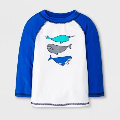 Baby Boys' Narwhal & Whale Rash Guard - Cat & Jack™ Blue/White 6-9M