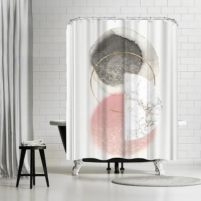 "Americanflat Blushing Geo Ii by Pi Creative Art 71"" x 74"" Shower Curtain"