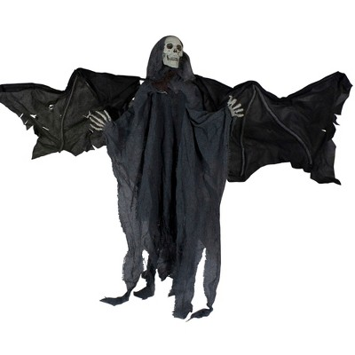 """Northlight 50"""" Gray and Black Animated Hanging Winged Reaper with LED Eyes Halloween Decoration"""