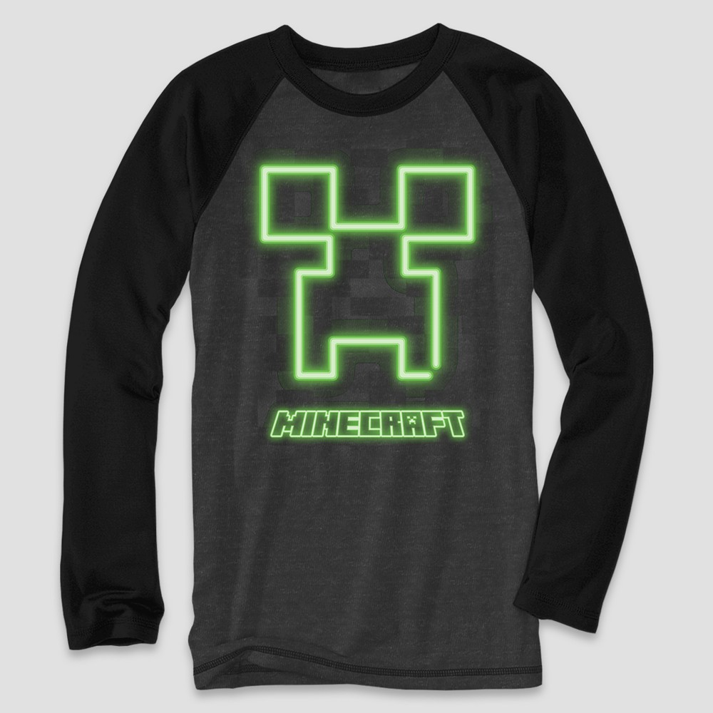 Boys' Minecraft Creeper Long Sleeve Graphic T-Shirt - Charcoal Heather/Black S, Gray
