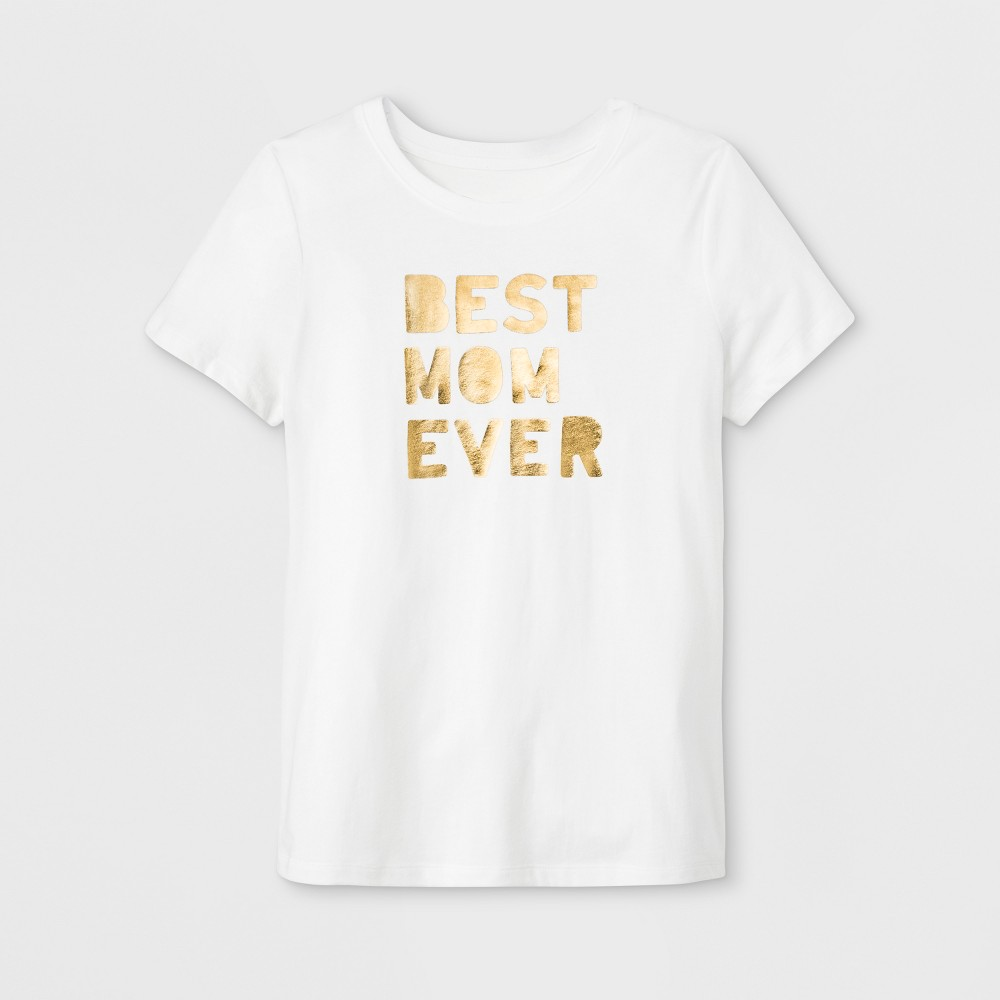 Women's Short Sleeve 'Best Mom Ever' Graphic T-Shirt - White XL
