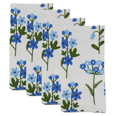 4pk Cotton Floral Table Napkins Blue - Saro Lifestyle