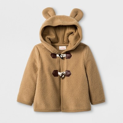 Baby Boys' Critter Button-Up Sweater with Kangaroo Pocket and Hood - Cat & Jack™ Brown 6-9M