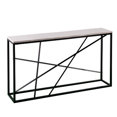 Arendale Faux Marble Skinny Console Table Matte Black - Aiden Lane