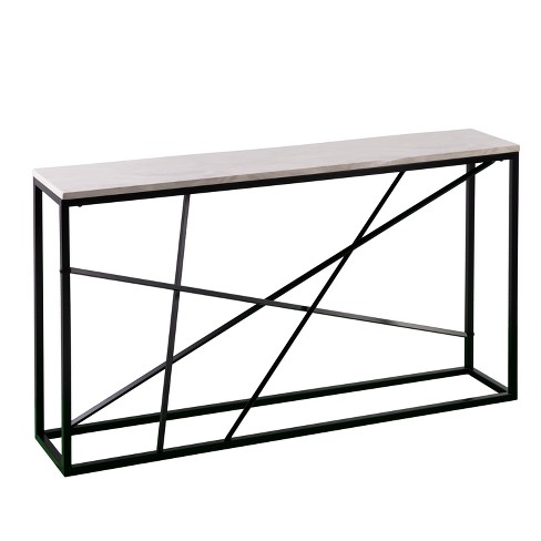 Arendale Faux Marble Skinny Console Table Matte Black Aiden Lane