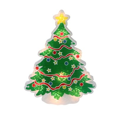 "Northlight 12.5"" Lighted Holographic Christmas Tree Window Silhouette Decor"