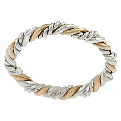 Women's Tressa Collection Sterling Silver Two-Tone Twisted Ring - Gold & Silver - image 1 of 2
