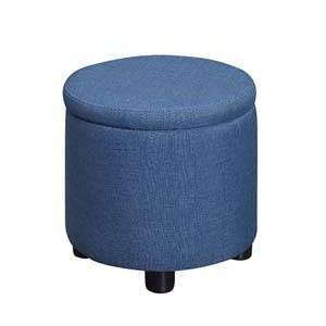 Round Accent Storage Ottoman Blue Faux Linen - Breighton Home