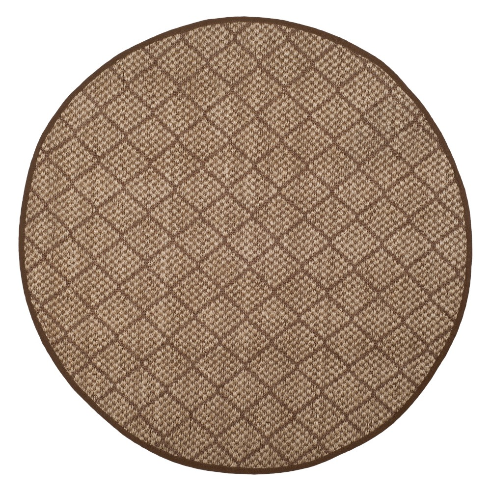 6 Geometric Loomed Round Area Rug Natural/Brown - Safavieh Coupons