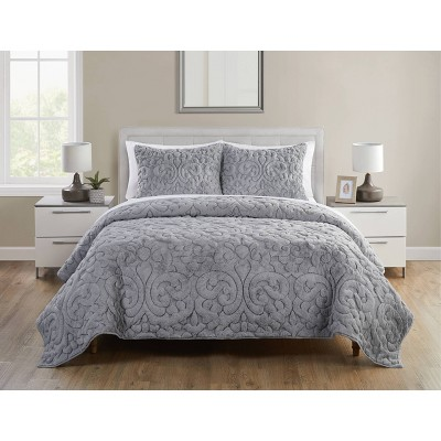 Shari Quilted Plush Quilt Set - VCNY