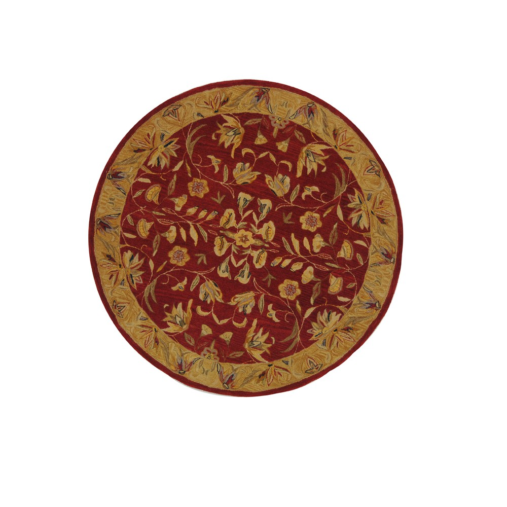 Burgundy/Gold Floral Tufted Round Area Rug 8' - Safavieh, Red Gold