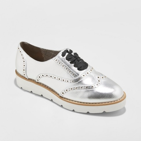 c23bf286ee8 Women s Desarai Metallic Oxford Loafers - A New Day™ Silver 8.5   Target