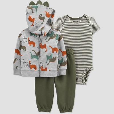 Baby Boys' Dino Hoodie Top & Bottom Set - Just One You® made by carter's Olive 3M