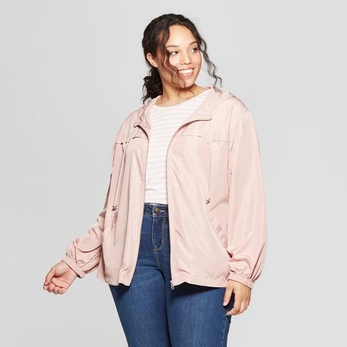 Women's Plus Size Windbreaker Jacket - Ava & Viv™ Pink 4X - image 1 of 2