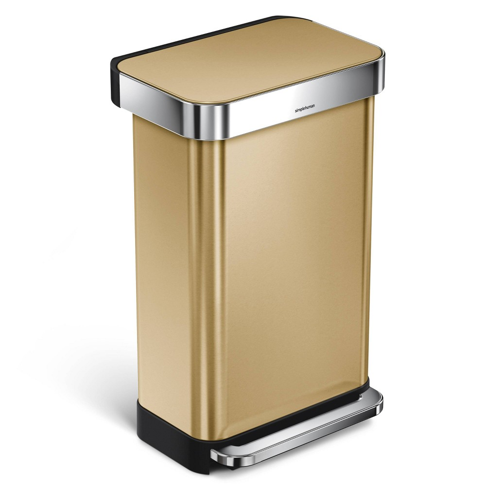 Image of simplehuman 45 ltr Slim Step Trash Can Brass Stainless Steel, Gold