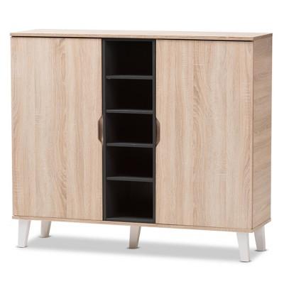 Adelina Mid - Century Modern 2 - Door Wood Shoe Cabinet - Brown - Baxton Studio