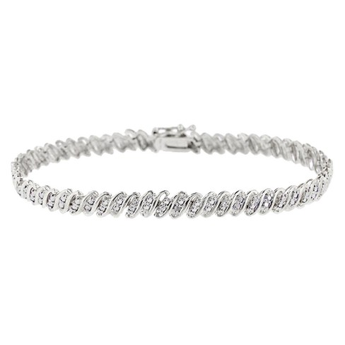 "Sterling Silver Diamond Accent ""S"" Link Bracelet - image 1 of 1"