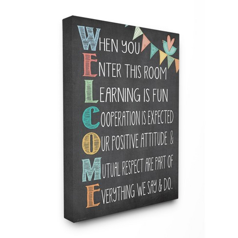 "Welcome Acrostic Rainbow Chalk Oversized Stretched Canvas Wall Art (24""x30""x1.5"") - Stupell Industries - image 1 of 2"
