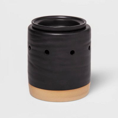 "5.2"" x 4.7"" Stoneware Matte Glaze Wax Warmer Black - Threshold™"