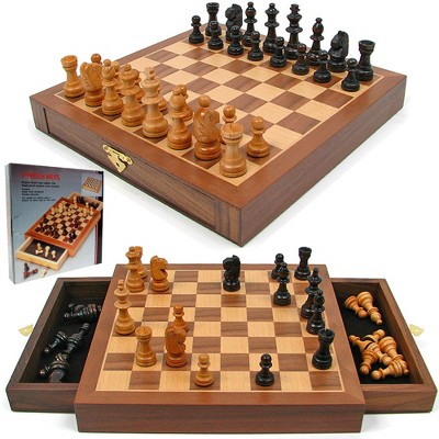 Toy Time Inlaid Walnut Style Magnetized Wood Chess Cabinet With Hand-Carved Staunton Wood Chessmen
