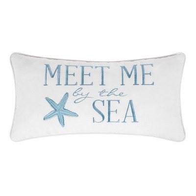 """C&F Home 12"""" x 24"""" Meet Me At The Sea Embroidered Throw Pillow"""