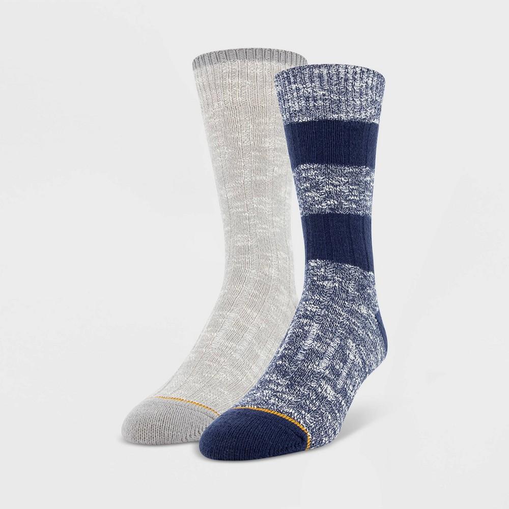 Image of Signature Gold by Goldtoe Men's 2pk Ultra Soft Crew Socks - Blue 6-12