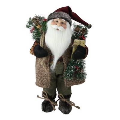 """Northlight 16"""" Country Rustic Standing Santa Claus Christmas Figure with Present"""