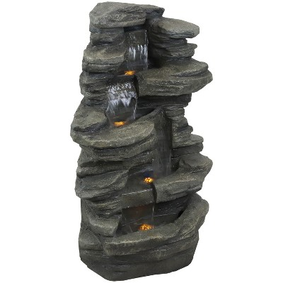 """Sunnydaze 38H Electric Polyresin and Fiberglass Stacked Shale Waterfall Outdoor Water Fountain with LED Lights"""""""