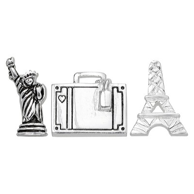 """Treasure Lockets 3 Silver Plated Charm Set with """"Travel the Globe"""" Theme - Silver"""