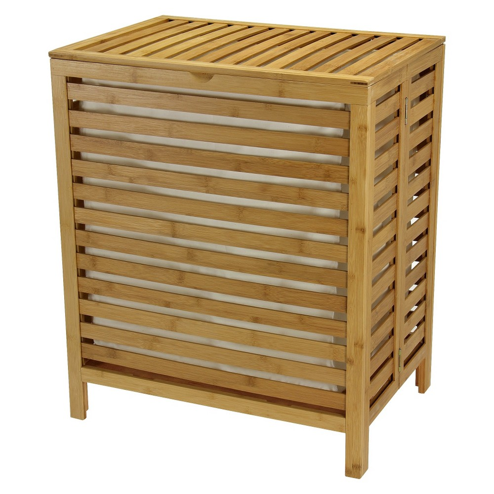 Image of Household Essentials Bamboo Open-Slat Laundry Hamper with Removable Bag - Natural, Brown