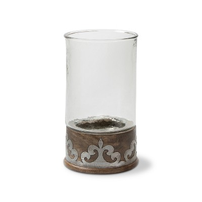 GG Collection Wood and Inlay Metal Heritage Collection 16.5-Inch Tall Candleholder