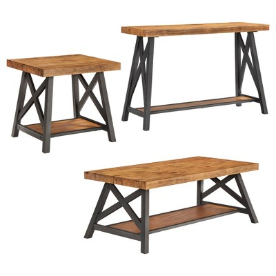 Lanshire Rustic Industrial Metal U0026 Wood End, Console U0026 Cocktail Table Set    Inspire Q