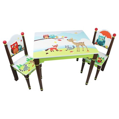 Enchanted Woodland Table and Chairs Wood (Set of 2)- Teamson