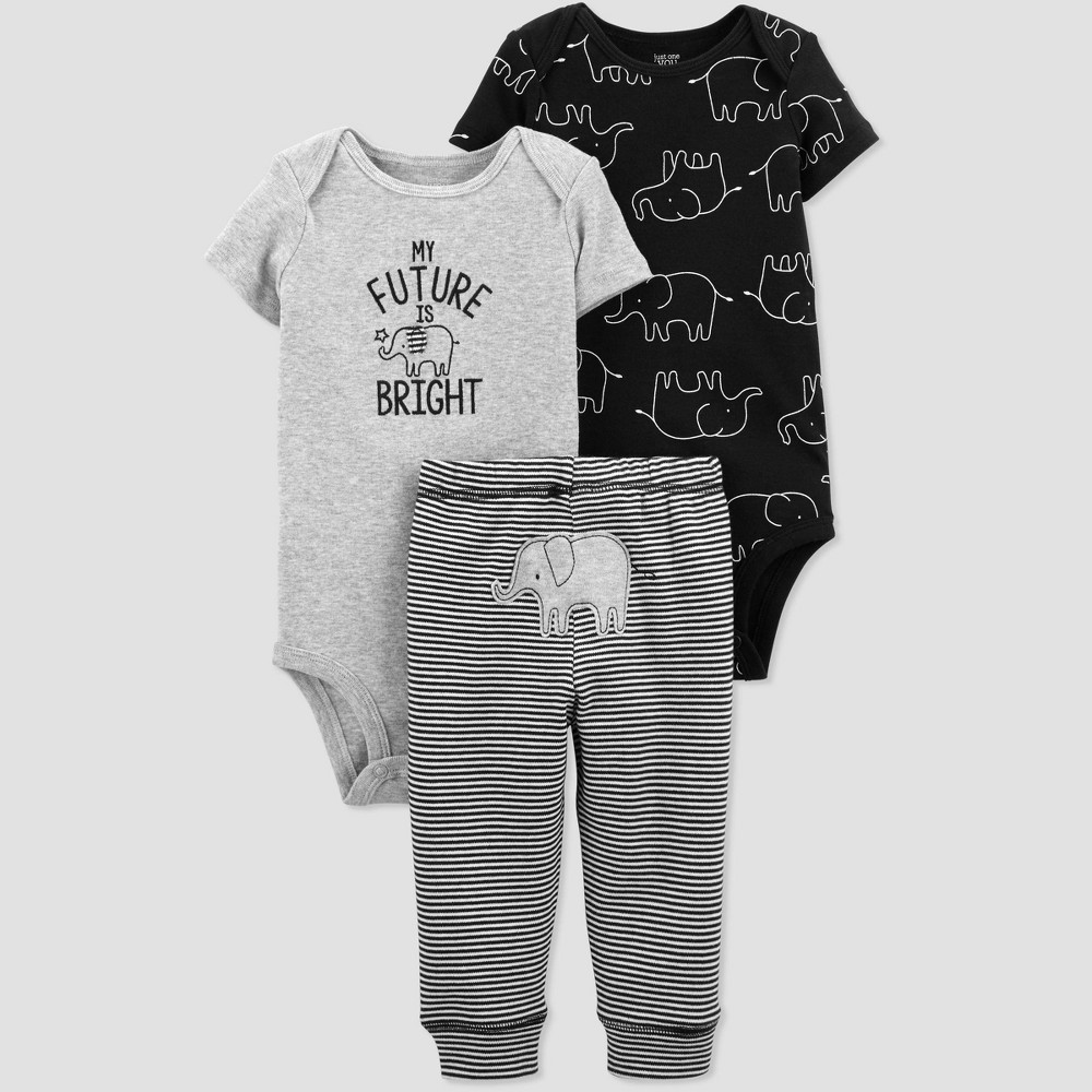 Baby Boys' 3pc Elephant Top And Bottom Set - Just One You made by carter's Gray/Black 3M