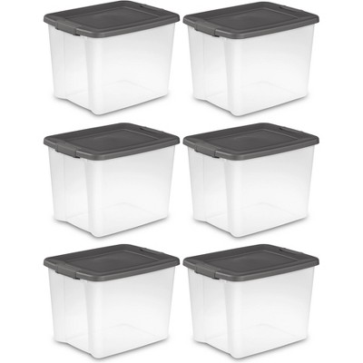 Sterilite 19373V06 50 Quart Clear Latched Plastic Storage Container (6 Pack)